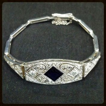 Edwardian Platinum Bracelet | Diamond Sapphire | Art Nouveau Antique