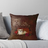 'Cute chihuahua with roses' Throw Pillow by nicky2342