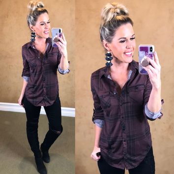 Penny Plaid Flannel Top: Mink Black