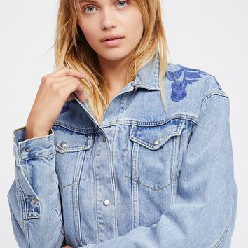 Free People Cinched Back Denim Jacket
