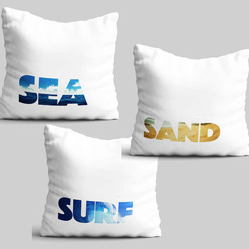 Throw pillow set of 3 summer beach theme fun pillow cases glider cushion cover surfers gift outdoor beach house decorative patio pillow PKG5