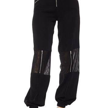 Gone and Meshed Up Panel Pants Black