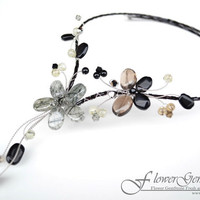 Black Flower Chandelier Necklaces Rutile Quartz Fashion Style Design by Flower GemStone