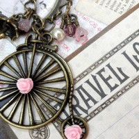 Antique Vintage Brass Pink Tricycle Necklace | jnldesigns - Jewelry on ArtFire