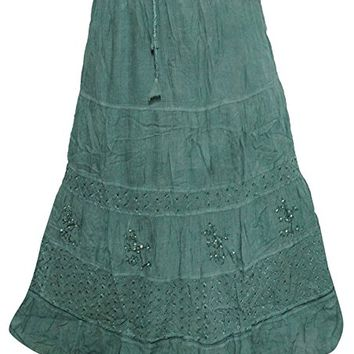 Mogul Womans Maxi Skirts Bohemian Medieval Green Sequin Work Embroidered Skirt