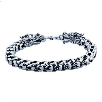 100% Real Pure 925 Sterling Silver Dragon Head Bracelet