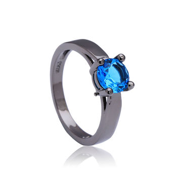 Blue synthetic sapphire Black gold plated Rhodium small round crystal paved gift women Wedding Engagement Ring jewellery