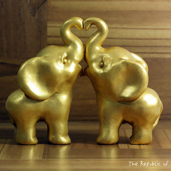 Gold Indian Elephant Wedding Cake Toppers - Ready to Ship - Hand Sculpted in Polymer Clay