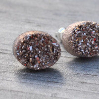 Oval Rose Gold Druzy Earrings Rose Gold Coated Drusy Petite Dainty Sterling Silver Post Stud Earrings Tiny Stone Cabochon