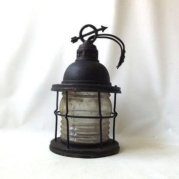 vintage 1930's nautical lantern lamp hanging ceiling mount black metal glass globe lighting marinetime decorative home decor old antique