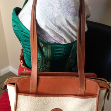 Cream and Tan Shoulder Strap Vintage Dooney and Bourke Purse Authentic