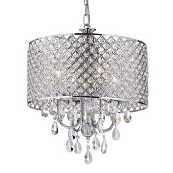 EDVIVI EPG801CH Chrome Finish Drum Shade 4-Light Crystal Chandelier Ceiling Fixture, Round