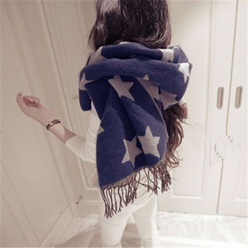 Double Sided Winter Korean Thicken Tassels Cashmere Scarf [9572830223]