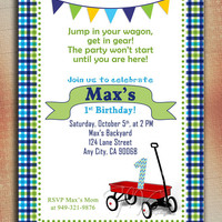 Little Red Wagon Birthday Invitation, Red Wagon Birthday Invitation, Wagon Birthday Invite-Digital File You Print