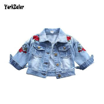 Trendy Yorkzaler Baby Girls Denim Jacket 2018 Fashion Children Outerwear Embroidery Flowers Jeans Coats For Girl Kids Autumn Clothing AT_94_13