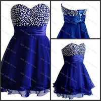 Sweetheart sleeveless mini chiffon with sequins prom dress evening dress,homecoming dress