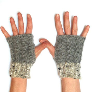 Gray Knit Fingerless Gloves Grey Winter Fashion for by Aimarro
