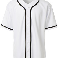 Mens Active Varsity Short Sleeve Button Down Baseball Jersey