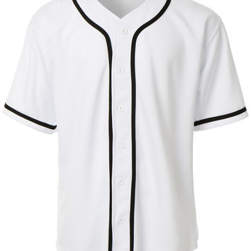 LE3NO Mens Active Varsity Short Sleeve Button Down Baseball Jersey