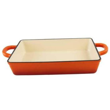 Crock Pot Artisan Enameled Cast Iron Rectangular Lasagna Pan in Sunset Orange