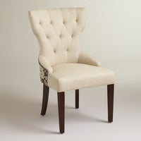 Black Floral and Linen Maxine Dining Chair - World Market
