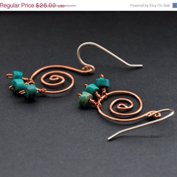 CIJ Turquoise Spiral Earrings, Rustic Copper Wire Jewelry, Blue Gemstones Beaded Earring, Gemstone Beads, Mixed Metal Wrapped Bead Jeweller