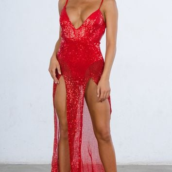 Indie XO Mystery Girl Red Sequin Spaghetti Strap Sleeveless Plunge V Neck Backless Double Slit Maxi Dress