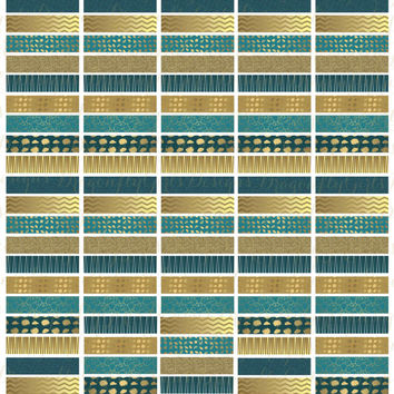 November Teal and Gold  Printable Planner 120 Headers Stickers PDF and jpeg Erin Condren Life Planner Kikkik Filofax
