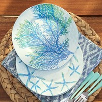 Coral & Starfish Melamine Plates, Set of 4