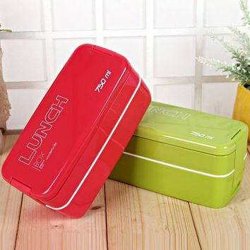 NEW 750ML 2 layer portable removable  Candy Color Japanese  Bento Lunch Boxs Food Container Sushi Set Plastic Microwave Safe