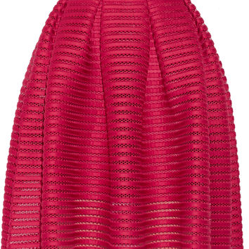 Maje - Jam pleated open-knit skirt