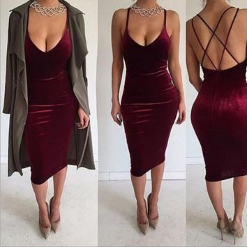 Women's low-cut V-neck strap dress