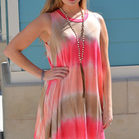 Tie Dye Swing Dress in Hot Pink