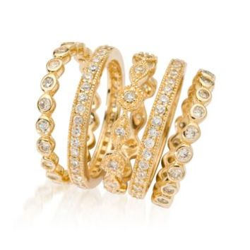 2.50 ct. t.w. CZ Jewelry Set: Five Eternity Bands in 14kt Gold Over Sterling | Ross Simons