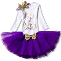 Baby Girl 1st Birthday Outfits Brand Baby Tutu Dresses Toddler Girl Baptism Clothes Christmas One Year Little Baby Clothing