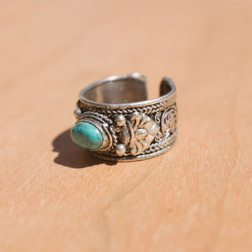 Turquoise Bohemian Ring - Hippie, Gypsy, Boho Style Silver Turquoise Ring - Spring Sale!!