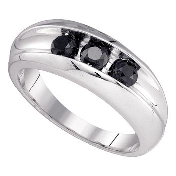 10kt White Gold Mens Round Black Color Enhanced Diamond Wedding Band Ring 7/8 Cttw