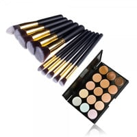 10pcs Makeup Brush Kit Pince Maquiagem & 15 Color Concealer Palette