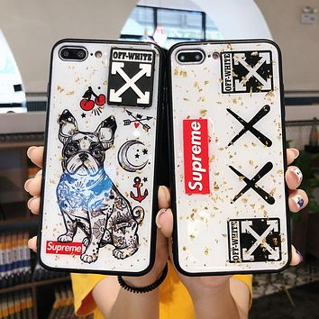 OFF-WHITE x Supreme Co-branded Tide brand glass iPhoneXs Max mobile phone case cover