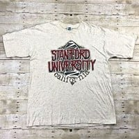 Vintage 1980s Stanford University California Graphic T-Shirt Made in USA Mens XL