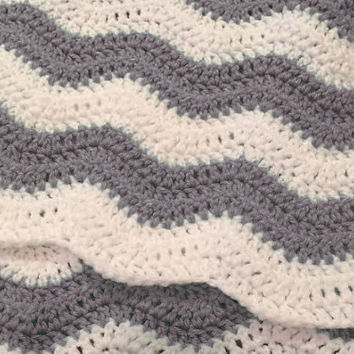 Custom Chevron Baby Blanket - Crochet - Ripple Afghan