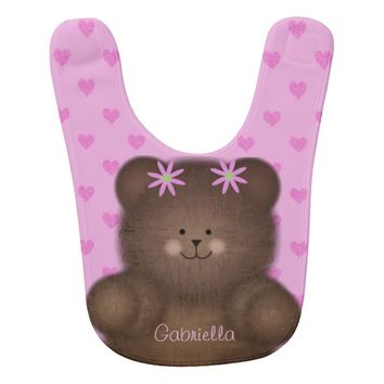 Personalized Teddy Bear With Pink Hearts 2 Bib