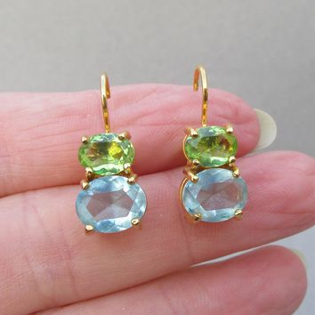 Vintage 1990's JOAN RIVERS Faux Blue Topaz & Green Peridot Rhinestone Lever Back Earrings