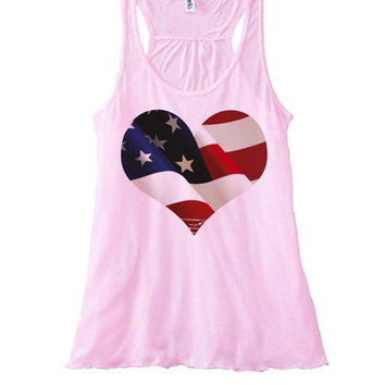 Heart of the Patriot | Women's Flowy Tanktop | Fourth of July Top 4th of July Tees Tanks Hoodies and more | July 4 Shirts and Tank Tops