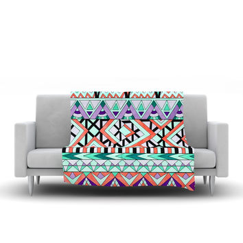 "Pom Graphic Design ""Tribal Invasion"" Abstract Fleece Throw Blanket"