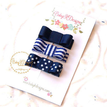 Newborn Baby Bow Snap Clip Girls Petite Tuxedo Bow Pinch Alligator Clips NAVY BLUE No Slip Barrette U Pick MORE Colors Fine Hair Accessories