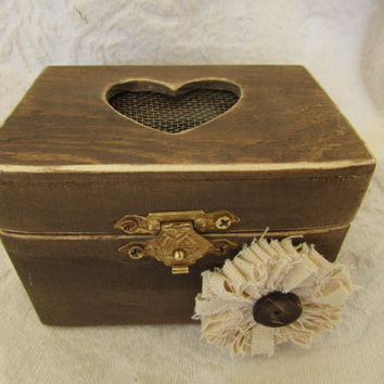Boho Rustic Woodland Cottage CHic Wedding Ringbearer Box Muslin Flower
