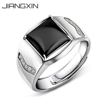 JiangXin Adjustable Size Onyx 925 Sterling Silver Men Ring Dazzling Black Square Gemstone Vintage Business Fine Jewelry