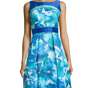 Sleeveless Printed Organza Party