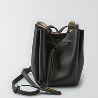 Street Level Faux Leather Bucket Bag , Black